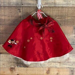 Disney Store red plaid Christmas Minnie skirt 5/6